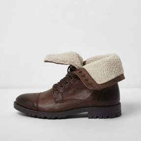 River Island Mens Brown fleece lined leather work boots