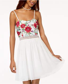 BCX Juniors' Embroidered Illusion-Waist Dress