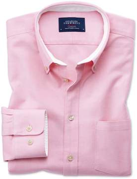 Charles Tyrwhitt Extra Slim Fit Button-Down Washed Oxford Plain Light Pink Cotton Casual Shirt Single Cuff Size Large