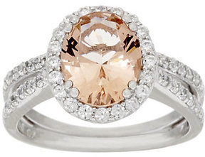 Diamonique As Is Simulated Morganite Ring, Ster.or 14KClad
