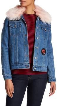 Bagatelle Faux Fur Trim & Lined Patchwork Denim Jacket
