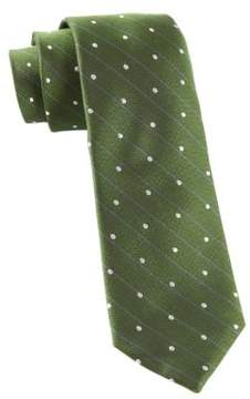 The Tie Bar Striped and Dot Printed Woven Silk Tie