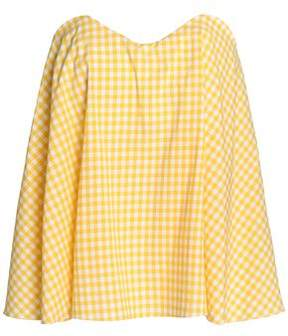 Caroline Constas Coco Strapless Gingham Cotton-Poplin Top