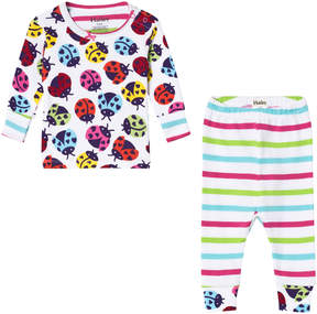Hatley White Rainbow Ladybirds Long Sleeve Mini Pyjama Set