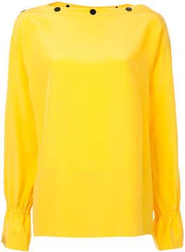 Emilio Pucci button slash neck blouse