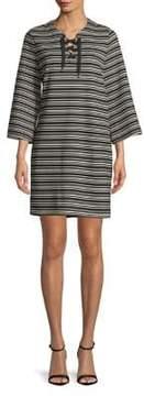 Isaac Mizrahi IMNYC Lace Up Full Sleeve Knee Length Shift Dress