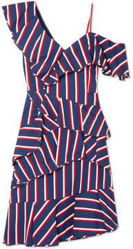 Alice + Olivia Alice Olivia - Cold-shoulder Striped Cotton-twill Dress - Royal blue
