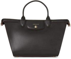 Longchamp Black Le Pliage Heritage Leather Satchel - BLACK - STYLE