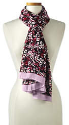 Lands' End Women's Ditsy Floral Scarf-Rich Red Check