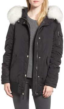 1 Madison Women's Genuine Fox Fur Trim Down Bomber Jacket