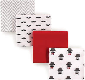 Hudson Baby Red Mustache Receiving Blanket - Set of Four