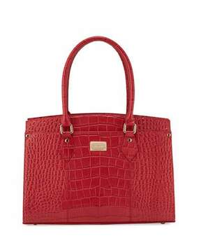St. John Collection Croc-Embossed Leather Work Tote Bag, Red/Golden