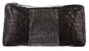 Herve Leger Gem-Embellished Leather Oversize Clutch