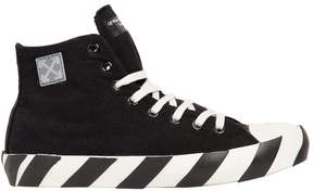 Off-White Striped Cotton Canvas High Top Sneakers