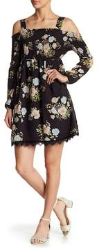 ECI Floral Smocked Cold Shoulder Dress