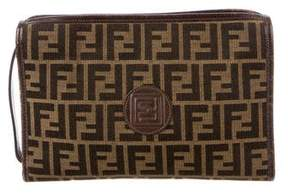 Fendi Vintage Leather-Trimmed Zucca Pouch