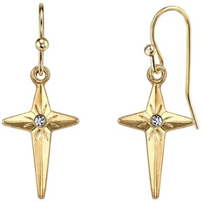 1928 14k Gold-Plated Crystal North Star Cross Drop Earrings