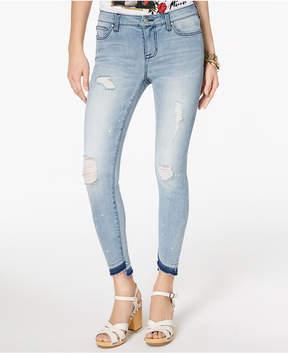 Celebrity Pink Juniors' Ripped Released-Hem Skinny Jeans