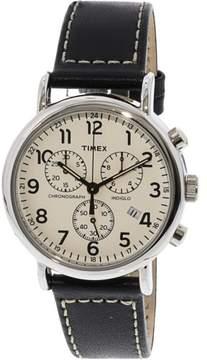 Timex Men's Weekender TW2R42800 Silver Leather Analog Quartz Fashion Watch