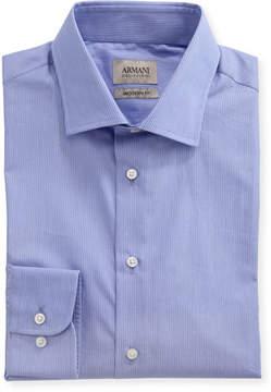 Armani Collezioni Striped Modern-Fit Dress Shirt, Purple