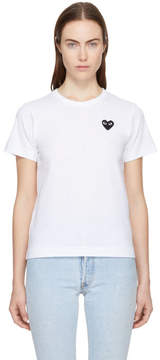Comme des Garcons White and Black Heart Patch T-Shirt