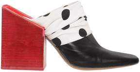 Jacquemus 90mm Leather & Polka Dot Canvas Mules