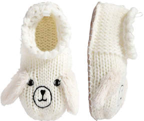 Joe Fresh Kid Girls' Bunny Crochet Slippers, Off White (Size M)