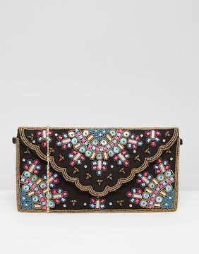Park Lane Multi Embellished Clutch Bag With Scallop Detail