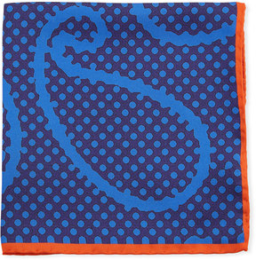 Bugatchi Dotted Paisley-Print Silk Pocket Square