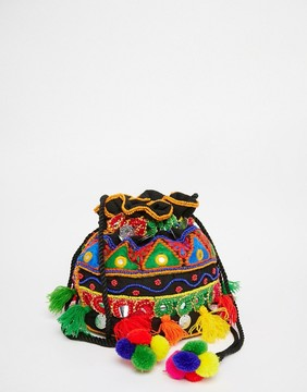 Glamorous Drawstring Cross Body Duffle Bag With Embroidery