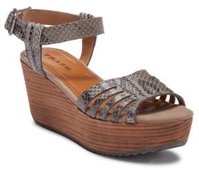 Trask Helen Leather Platform Wedge Sandal