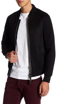 Mackage Mesh & Leather Trim Varsity Jacket