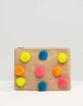 Glamorous Zip Top Pouch With Pom Poms