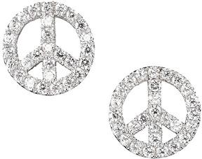Crislu Platinum Over Silver Cz Peace Earrings