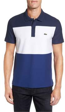 Lacoste Mens Colorblocked Rugby Polo Shirt Blue XL