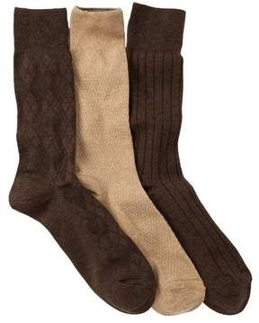 Cole Haan Textured Argyle Crew Socks - Pack of 3