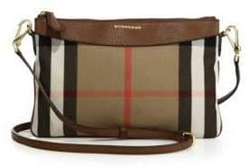 Burberry Peyton Check & Leather Shoulder Bag - TAN - STYLE