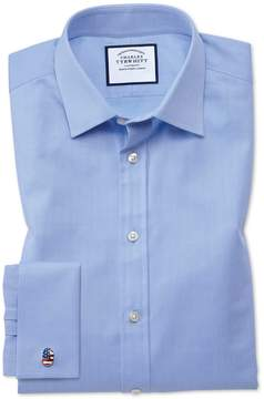 Charles Tyrwhitt Extra Slim Fit Fine Herringbone Sky Cotton Dress Shirt Single Cuff Size 14.5/32