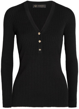 Versace - Ribbed Wool-blend Sweater - Black