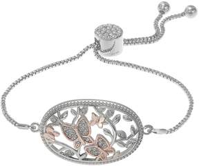 Brilliance+ Brilliance Two Tone Butterfly Adjustable Bracelet with Swarovski Crystals