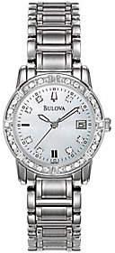 Bulova Ladies 24 Diamond Case & Bracelet Watchw/White Dial