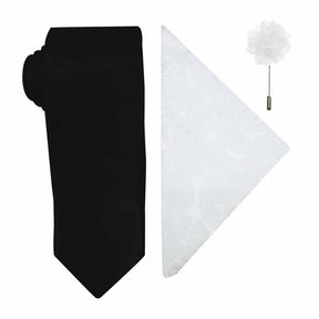 Jf J.Ferrar Solid Tie, Pocket Square and Lapel Pin Set