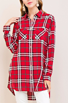 Entro Red Plaid Top