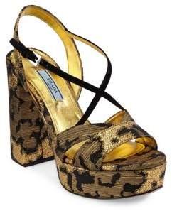 Prada Printed Platform Sandals
