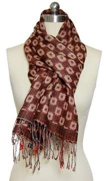 Saachi Womens Brown Motif Scarf.