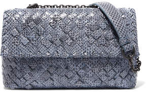 Bottega Veneta - Olimpia Baby Intrecciato Watersnake Shoulder Bag - Light blue