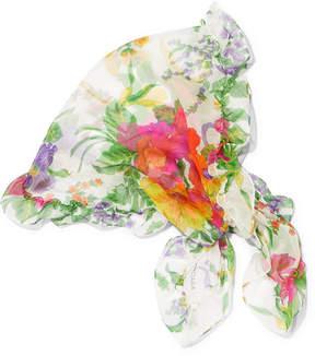 Balenciaga Ruffled Floral-print Silk-georgette Scarf - White