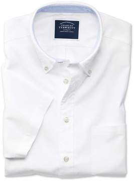 Charles Tyrwhitt Classic Fit Button-Down Washed Oxford Short Sleeve White Cotton Casual Shirt Single Cuff Size Small