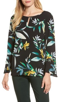Chaus Women's Floral Print Bell Sleeve Blouse
