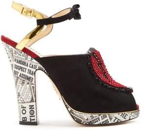 Charlotte Olympia Killer Heels embellished-heart suede sandals